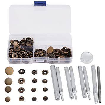 Leather Bracelet Bestgle 120 Sets Leather Snap Fastener Kit Metal Snaps Buttons Press Studs with 4 Pieces Fixing Tools 6 Colors Clothing Snaps Kit for Clothing Jeans Wear Bags Jacket