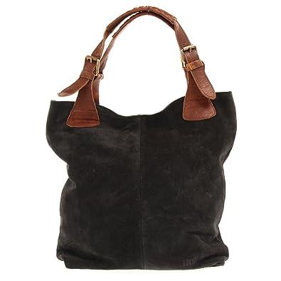 af55294cf9f112 LECONI Henkeltasche Echt-Leder Wildleder Damentasche Handtasche für Damen  Shopper für Freizeit, Büro oder