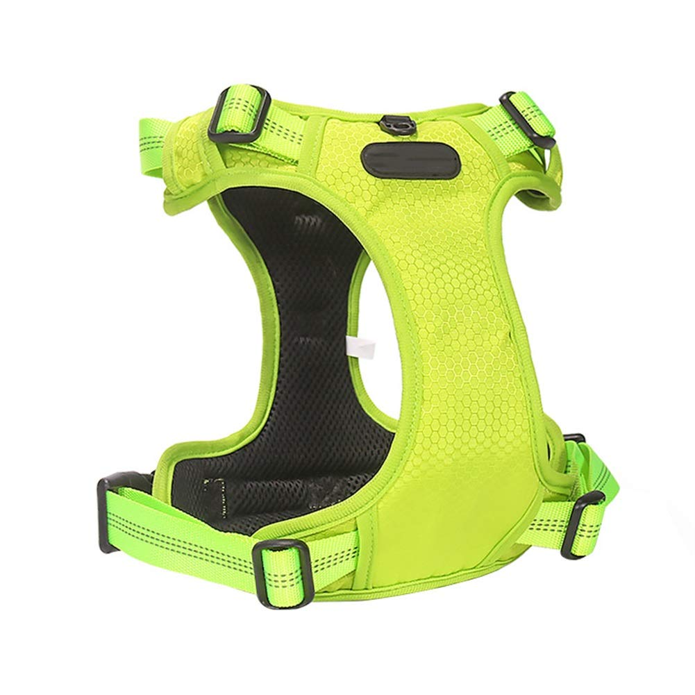 GREEN S GREEN S Dog Vest Harness, Chest Strap Leash Teddy golden Hair Vest Rope Chain for Large Medium Small Dog Training Safety Buffer Traction (color   Green, Size   S)