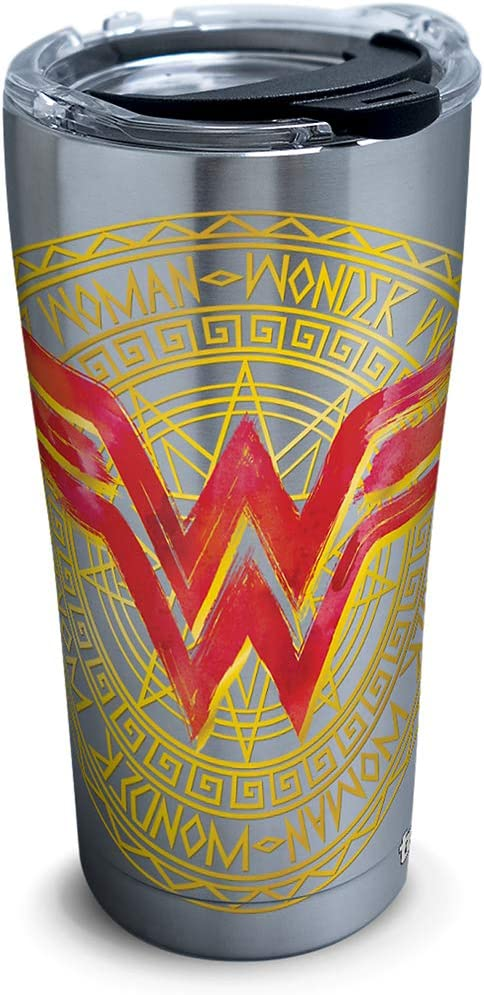 Tervis DC Comics - Wonder Woman Icon Stainless Steel Insulated Tumbler with Lid, 20 oz, Silver