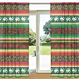 My Daily Green Red Stripe Mexican Lizard Printed Sheer Window and Door Curtain 2 Panels 55'' x 78'', Rod Pocket Panels for Living Room Bedroom Decor