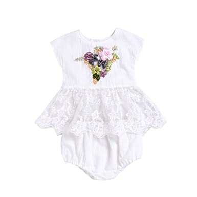 da0aaca60 2Pcs Newborn Baby Girl Clothes Embroidery 3D Floral Lace Tops Dress+ ...