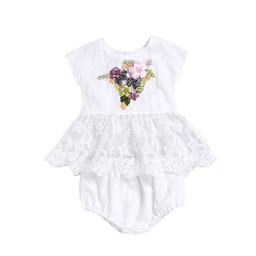 47de9554b20 Birdfly Toddler Baby Girl Embroidered 3D Flowers Pure White Romper Jumpsuit    Dress + Bottom Set