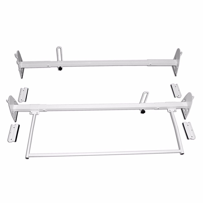 AA-Racks Model X27 Rain-Gutter Van Roof Racks Square 3 Bar Set with Ladder Stoppers, Full (Black) X27-T-BLK