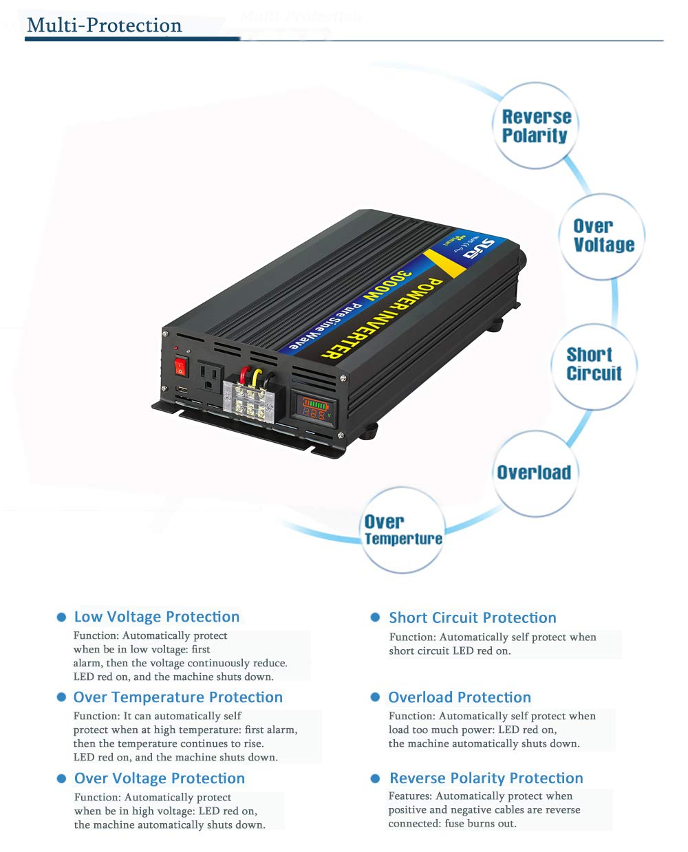 Sug Dc To Ac Power Converter Pure Sine Wave Inverter High Low Voltage Protection Circuit With Led Display 3000w 12v 120v Electronics