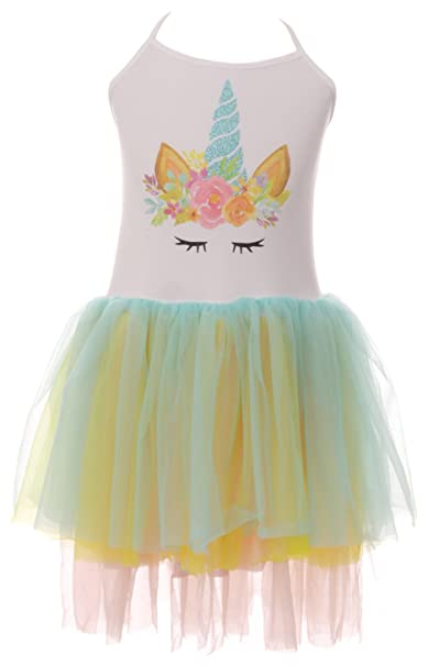 6202f79d86 Amazon.com  Little Girls Unicorn Glitter Tutu Tulle Birthday Party Flower  Girl Dress 2-8  Clothing