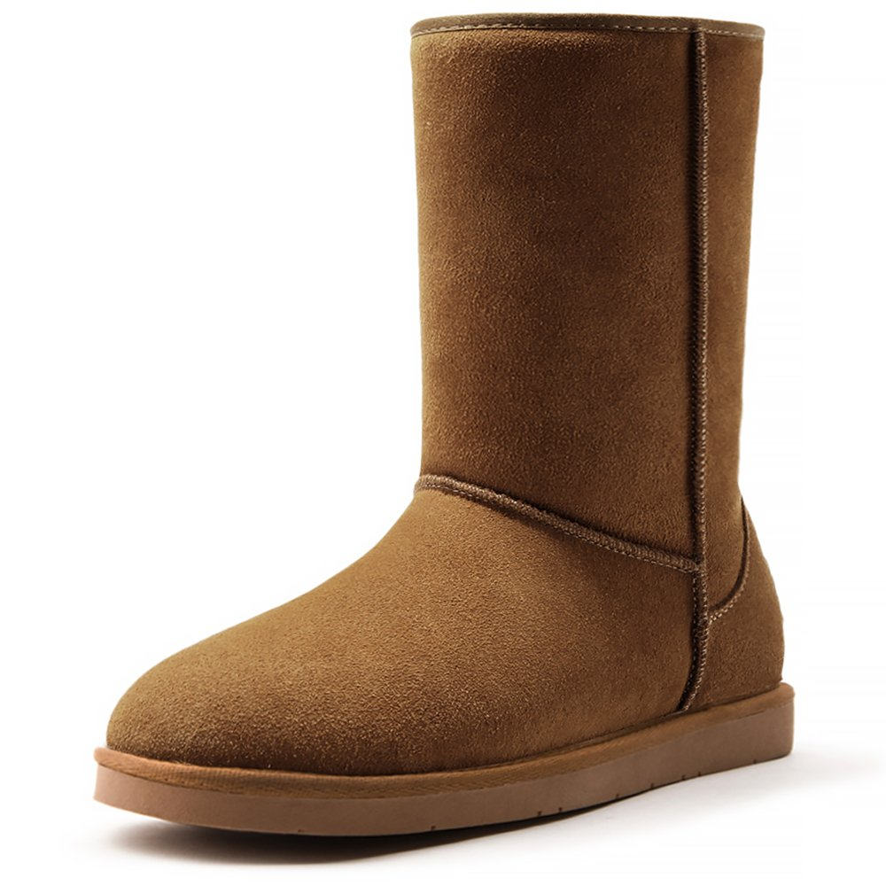 AOMAIS Women's Short Winter Boot Mid Calf Cow Suede Leather Slip-On Snow Boots For Outdoor Indoor