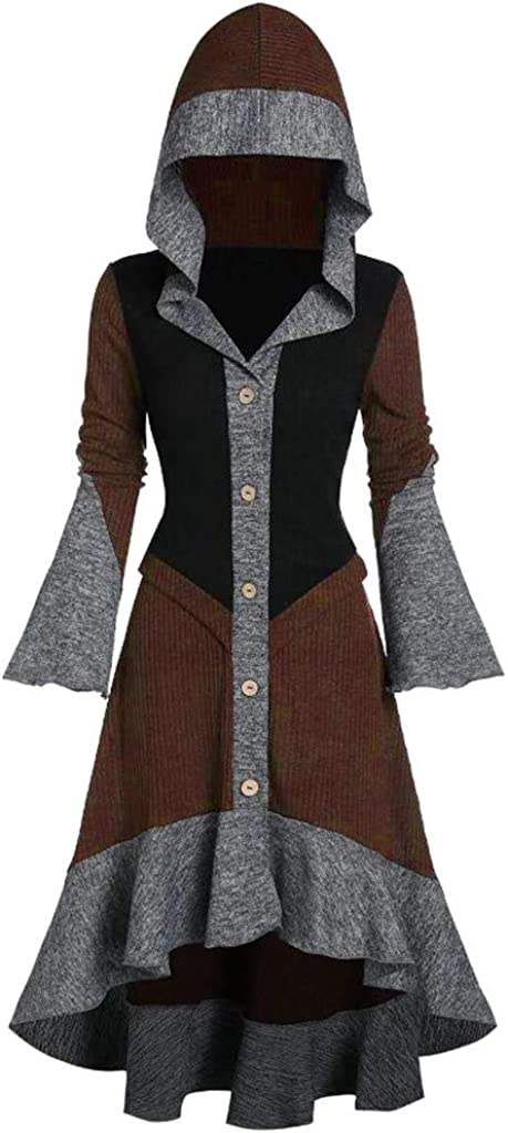 Eoeth Women Hooded Contrast Ribbed Ruffles Flare Sleeve Button Coat High Low Cardigan Cloak Top Blouse Shirts Hoodie