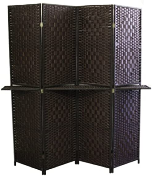 ORE International FW0676Y 4-Panel Screen Room Divider with 63-Inch Shelving, Espresso Brown Paper Straw Weave