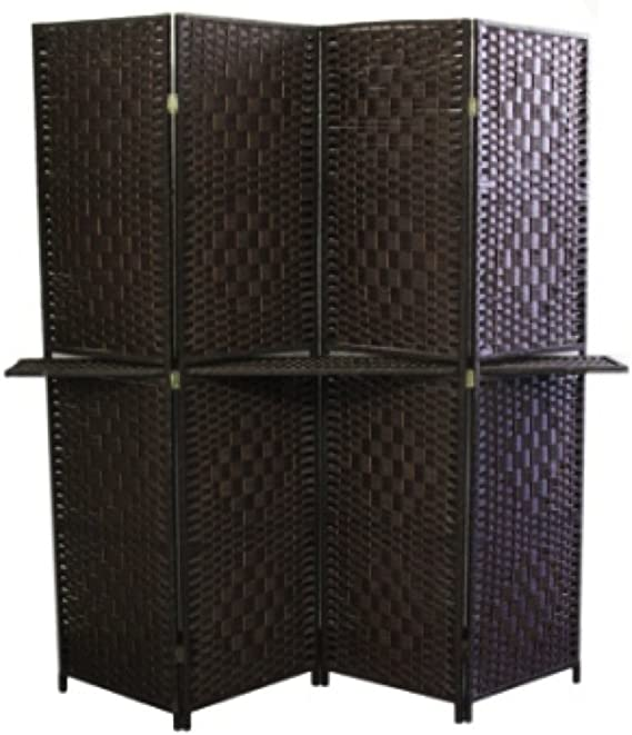 Ore International Fw0676y 4 Panel Screen Room Divider With 63 Inch Shelving Espresso Brown Paper Straw Weave