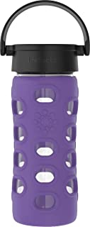 product image for Lifefactory 12-Ounce BPA-Free Glass Water Bottle with Classic Cap and Protective Silicone Sleeve, Iris