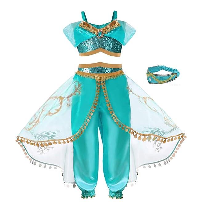 Amazon.com: TTMOW Disfraz de princesa de jazmín para disfraz ...