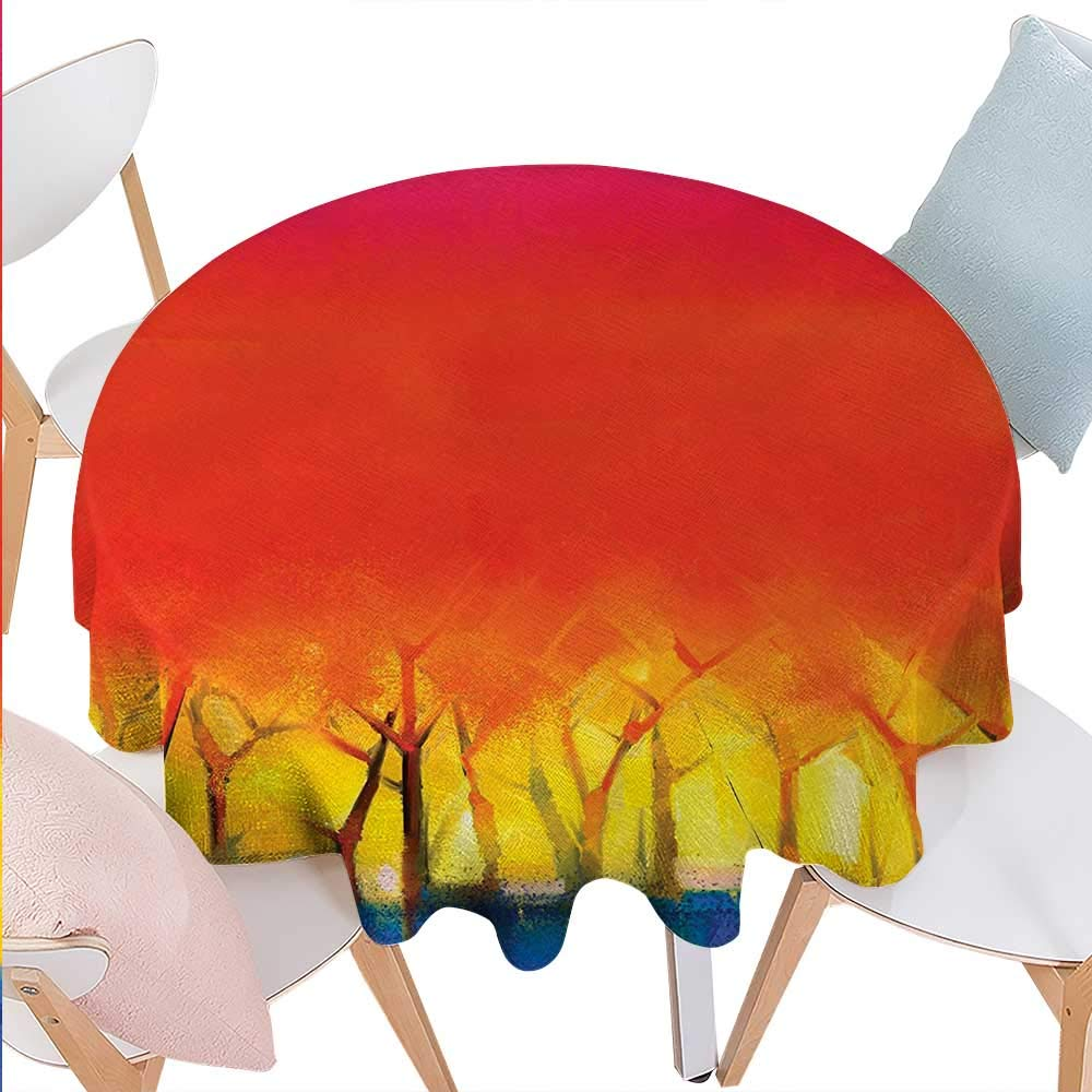 cobeDecor Fantasy Dinning Round Tabletop DecorAbstract Tree in Various Tones Watercolor Style Paintbrush Artwork Round Table Cover for Kitchen D36 Fuchsia Orange Yellow Blue