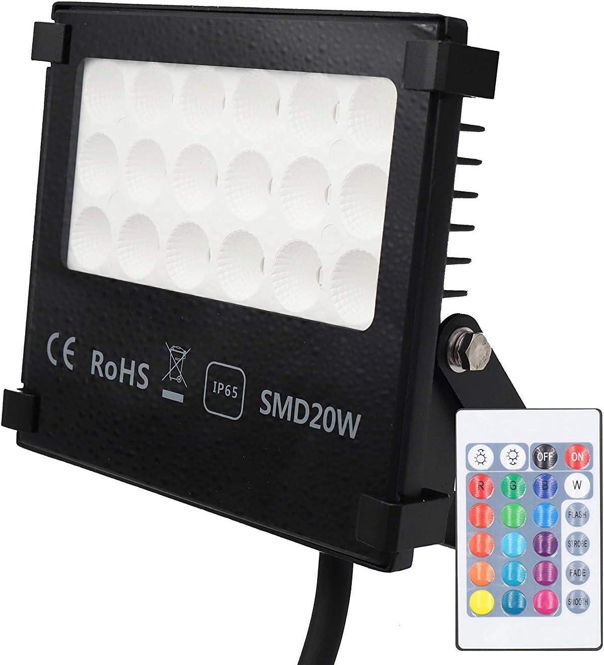 Popp - Foco LED RGB 10W Exteriores, Impermeable IP65 resistente al ...