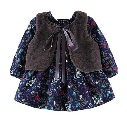 ❤ Vestido y Abrigo para niñas, recién Nacidos niñas de Dibujos Animados Vestido de Princesa cálida + Chaleco Trajes Conjunto de Ropa Absolute: Amazon.es: ...