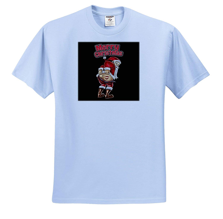 ts/_319041 Merry Christmas with Santa Claus Snowflake Celebration Adult T-Shirt XL 3dRose Sven Herkenrath Christmas