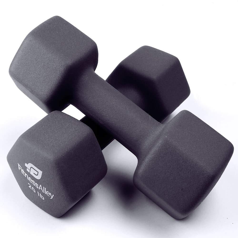 Fitness Alleyネオプレンコーティングダンベルセット(Hex Hand Weights) (Neoprene) 20 lbs - グレー