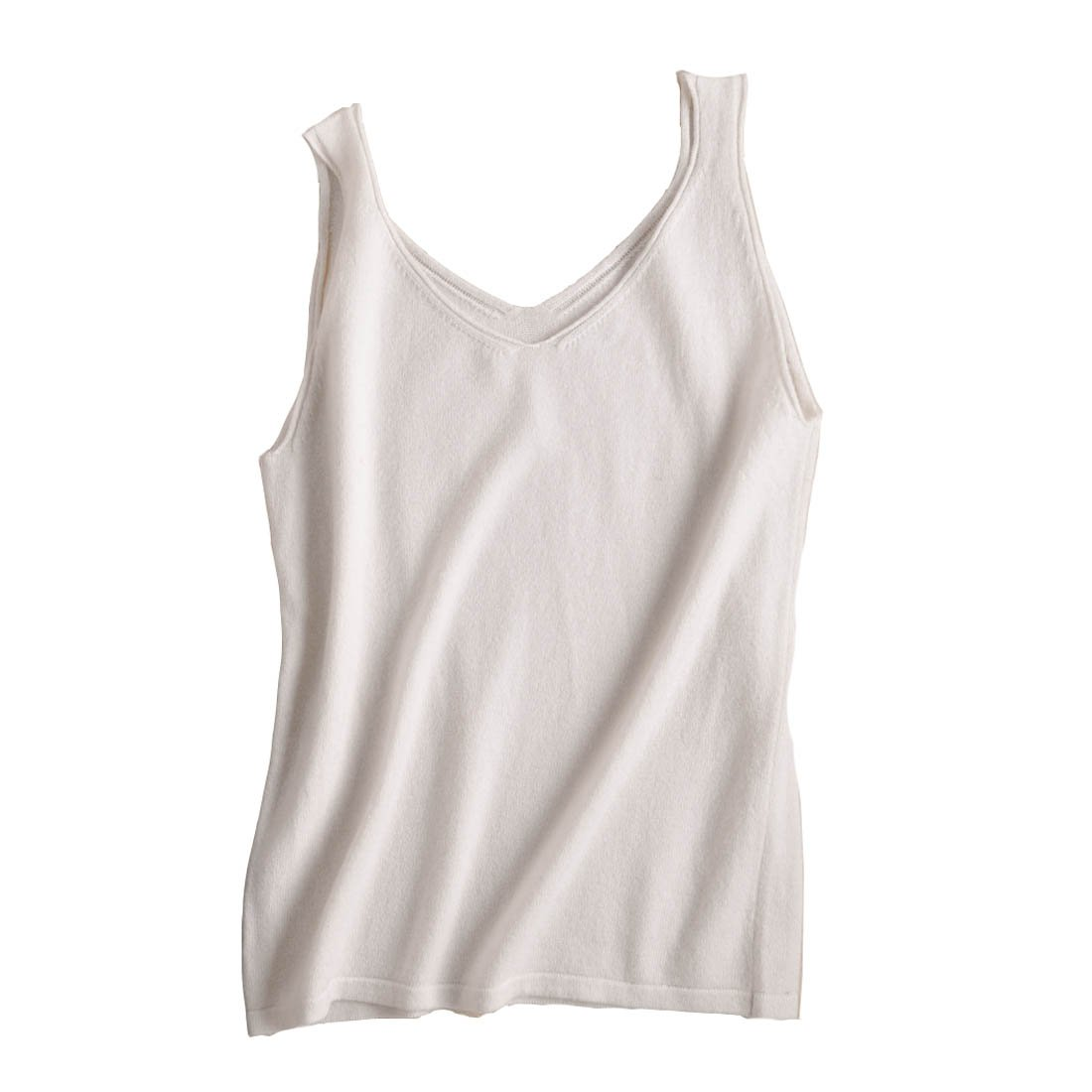 FINCATI White Tshirts Tank Tops 2018 Spring Summer Spaghetti Strap Soft Skin Friendly Sexy Slim V Neck (B-White, L)