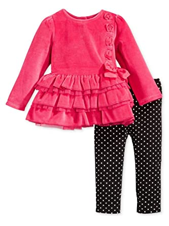 d9106dda4 Amazon.com  First Impressions Infant Girl 2 Piece Pink Velour Outfit ...