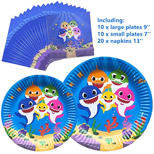 - Baby Cute Shark Party Supplies Napkins and Party Plates Thickened and Waterproof of Surface Coating Disposable Tableware Set for Boys Girls Kids Birthday
