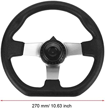 FLYPIG 10.6 Steering Wheel w//Cap 10.5 Inch Steering Wheel 270mm Steering Wheel Go karts ATV Electric Go Kart Off-Road Scooter for TAOTAO Buggy