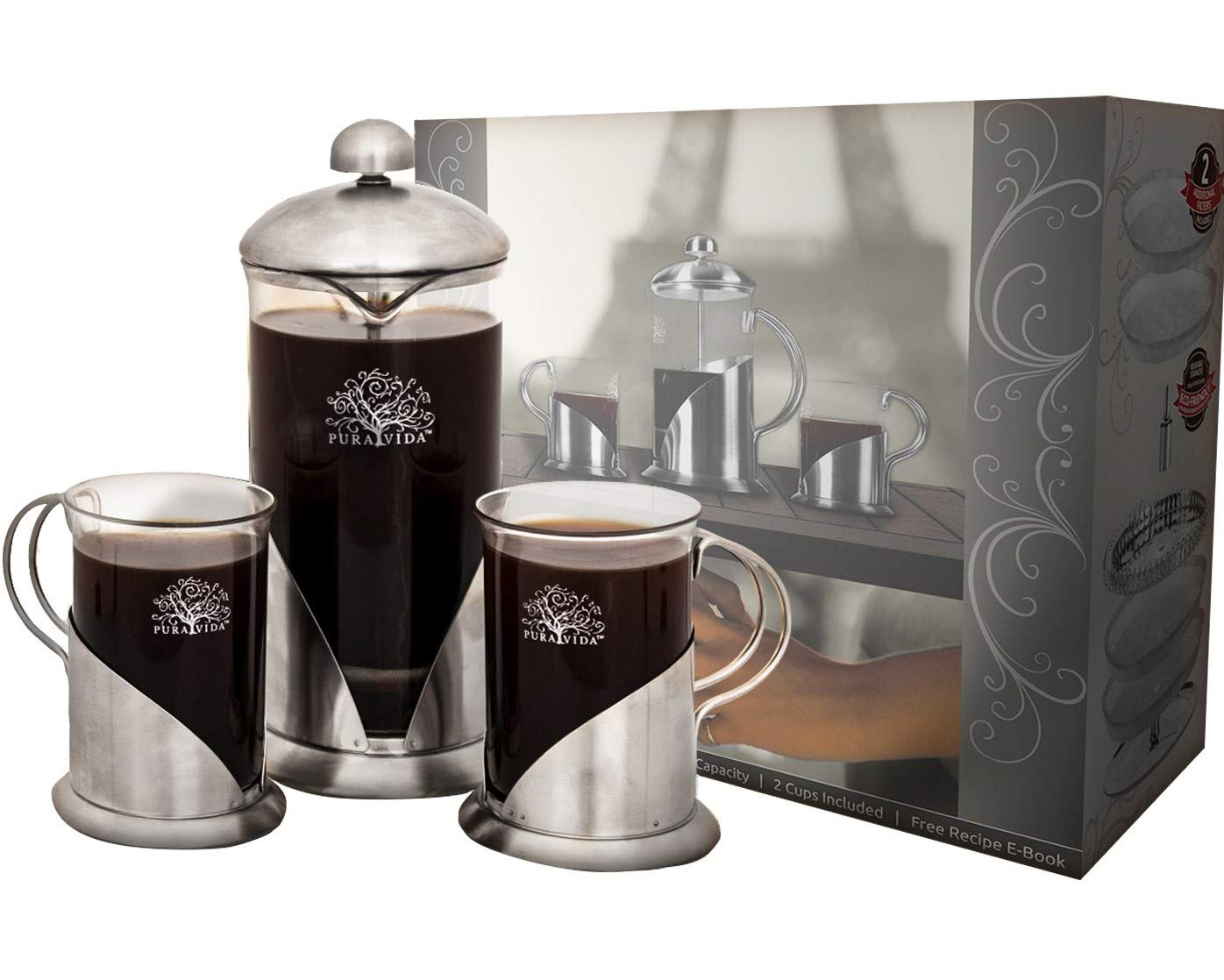 Pura Vida French Press Coffee Maker Set, 20 oz - 4 Level Filtration System - 2 Luxury Mugs - Heat Resistant Borosilicate Glass French Press with Durable 304 Stainless Steel - Tea Maker, 4 Cup by Pura Vida