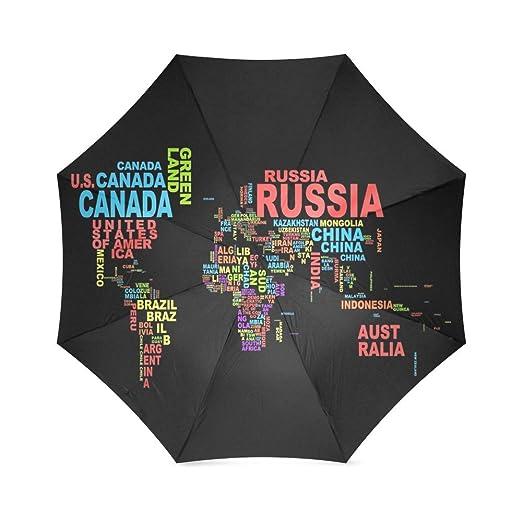 Personalizado país mapa del mundo sol lluvia paraguas de viaje resistente al agua: Amazon.es: Deportes y aire libre