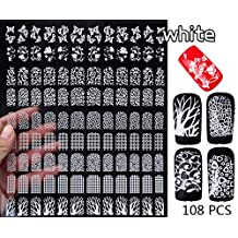 Nail Art Stickers Decals,108pcs/sheet Butterfly Leopard Design 3D Nail Tips Decorations,diy Beauty Manicure Nail Supplies Tools