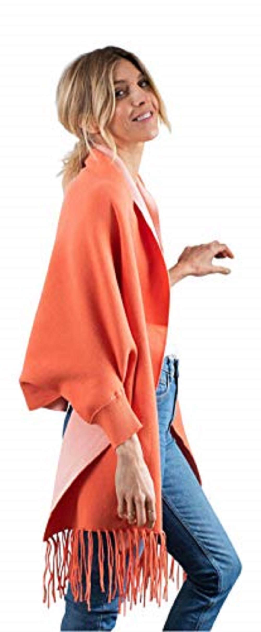 Women's Reversible Wrap-2 colors in one great look -Super-soft & Cozy- Wrap-Scarf-Subtle sleeves -80% cotton, 20% polyester-Washer & Dryer Safe-Available in Multiple Colors (Coral)