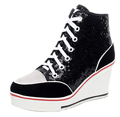 76a7fbf62421 Jiu du Women's High-Heeled Sneakers with Suede Sequins Lace Up Wedges Shoes  Black Sequin