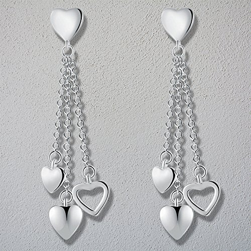 Wansan Heart-Shaped Tassel Earrings Bohemian Ethnic Dangle Hanging Rope Long Tassel Stud Earrings for Women Girls