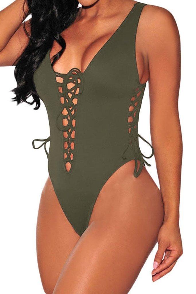 HOTAPEI Women V Neck Lace up High Cut One Piece Swimwear Medium Army Green