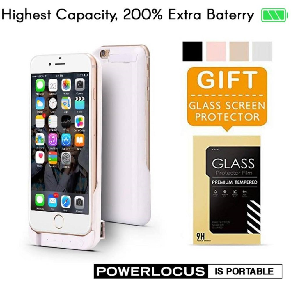iPhone 6 6S Battery Case, Ultra Slim Extended iPhone 6 Battery Case 6800mAh, External Portable Charging Case, High Capacity Battery Pack Bank Cover (White)