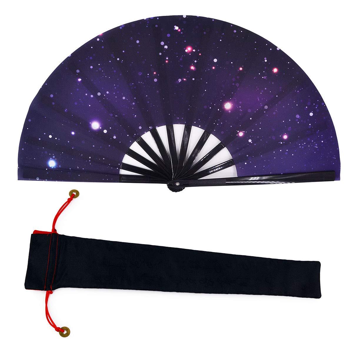 Amajiji Large Galaxy Hand Fans, Chinease/Japanese Nylon-Cloth Hand Folding Fans for Women/Men, Fabric Case for Protection, Festival Gift Fan Craft Fan Folding Fan Dance Fan (AM3)