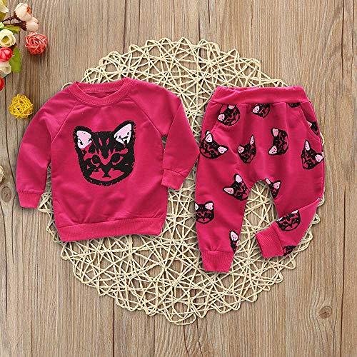 Enfants Bébé Rouge Imprimer Survêtement Vêtements Pantalon La Longues Vêtement 18mois Adeshop Hiver 5ans Mode Maison Automne Pièces Manches 2 De Top Et Filles Ensemble À Cats 4w5qZnXAna