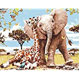 Paint by Number Kits for Adults Kids, DIY Digital Canvas Oil Painting Gift for Adults Kids Paint by Number Kits Home Decorations- Elephant and Giraffe 16*20 inch