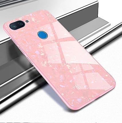 SPAK Xiaomi Mi 8 Lite Funda,Vidrio Templado Back + Soft TPU Frame Cubierta Carcasa para Xiaomi Mi 8 Lite (Rosa)