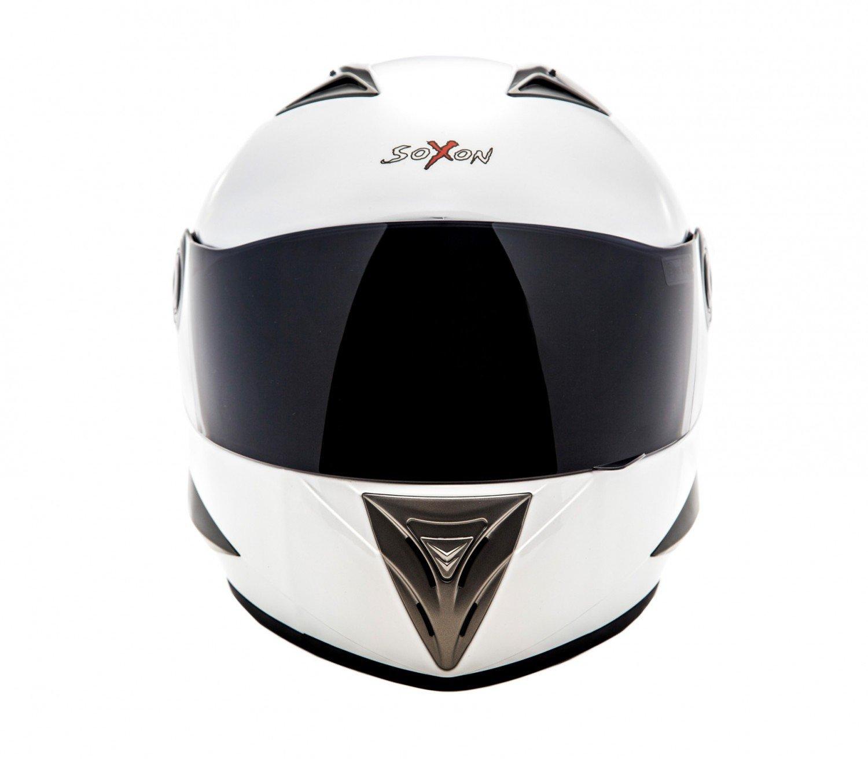 55-56cm SOXON ST-550 Snow /· Cruiser Sport Fullface-Helmet Moto motocicleta Urban Scooter Urbano Casco Integrale /· ECE certificado /· incluyendo parasol /· incluyendo bolsa de casco /· Blanco /· S