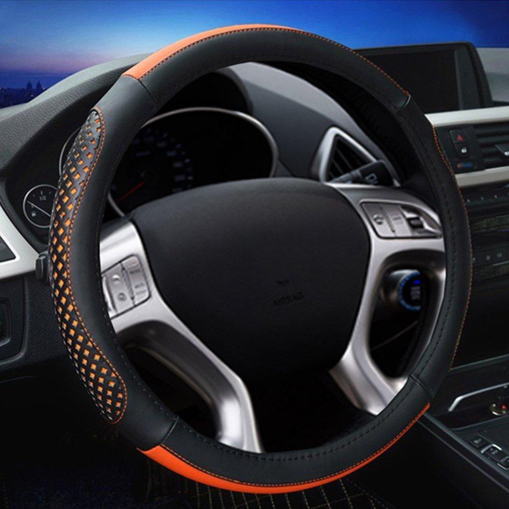 Universal Luxury Leather Car Steering Wheel Cover Silver Anti-slip 38CM Sport UK