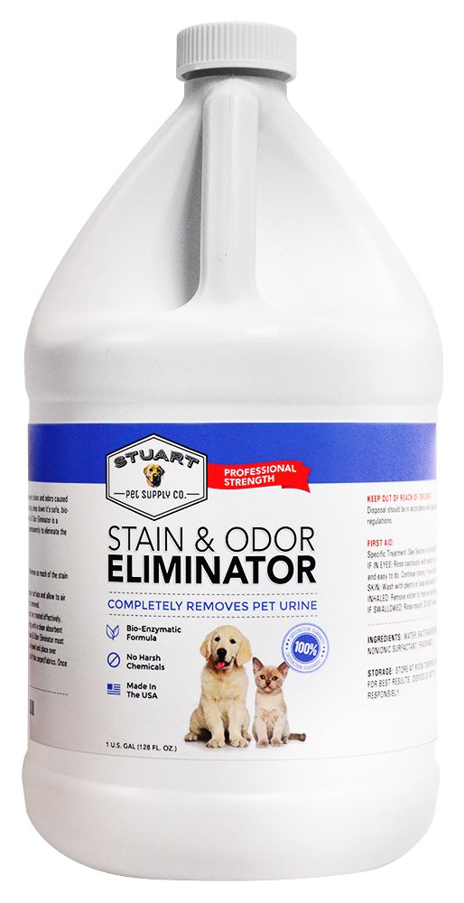 Professional Strength Stain & Odor Eliminator-Enzyme-Powered Pet Odor & Stain Remover for Dog & Cats Urine #1 Fresh Clean Scent 100% Money Back Guarantee (Gallon)