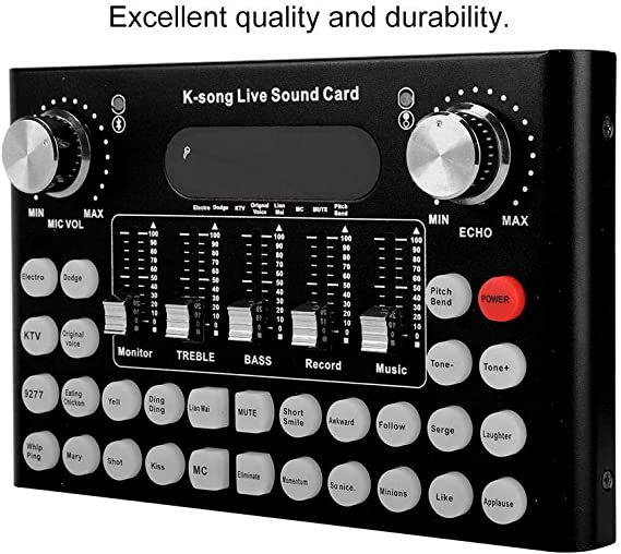Live Sound Card with Bluetooth for Mobile Phone Computer//for PS4//for Xbox//for iPad Black F007 Metal Voice Changer 18 Special Effects and 12 Kinds of Electronic Sounds Multiple Funny Sound Effect