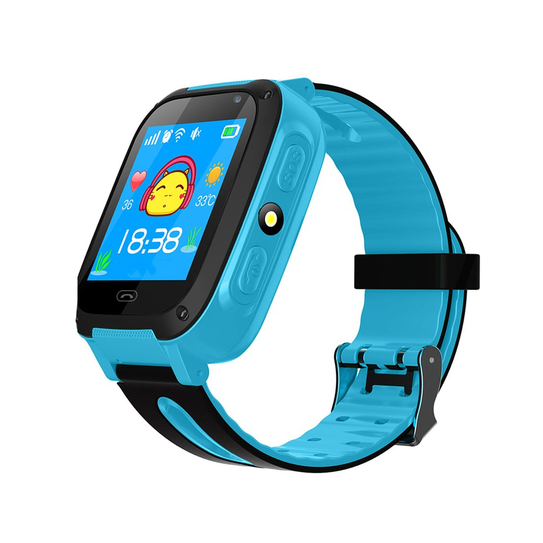 TDH Kids GPS Smartwatch, Anti-lost Smart Watch for Children Girls Boys Compatible for iPhone Android (Blue)