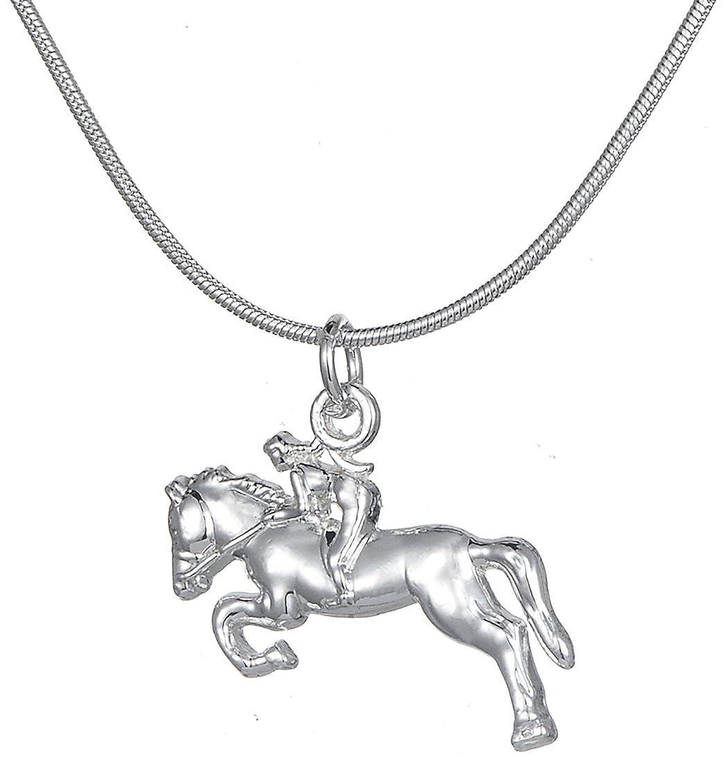 Lemegeton Cavalier Racing Pendentif Collier pour Femme Cowgirl les amateurs de cheval Animal Bijoux BiChuang