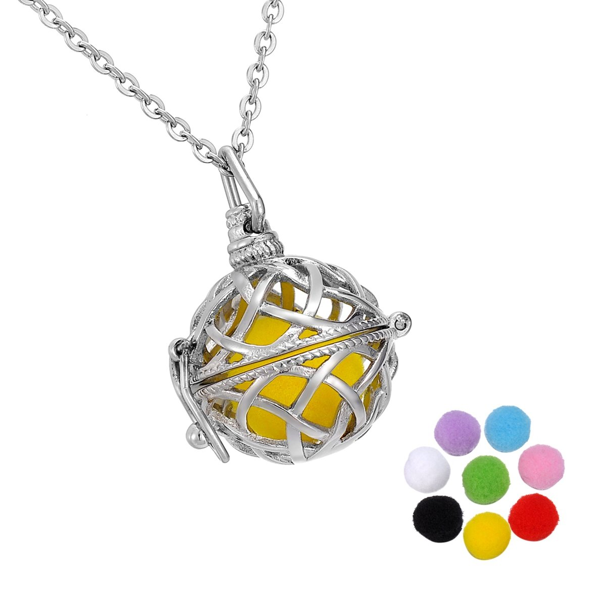 HooAMI Aromatherapy Essential Oil Diffuser Necklace - Celtic Knot Round Ball Stainless Steel Pendant Cage Locket TY BETY111423
