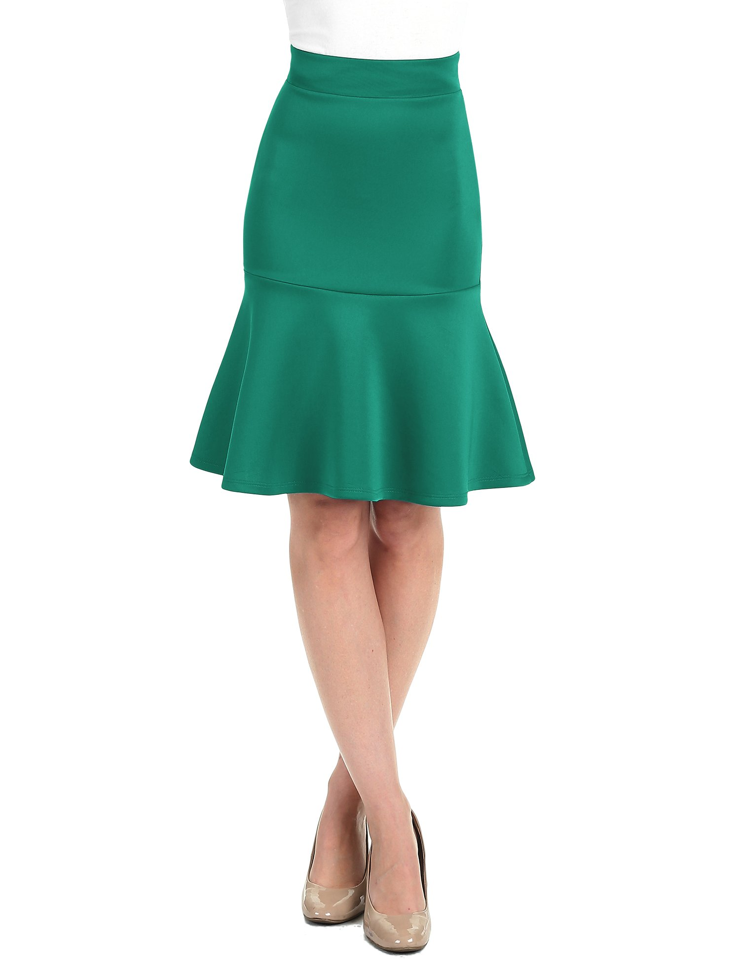 WT1471 Womens High Waist Bodycon Fishtail Midi Skirt S Jade