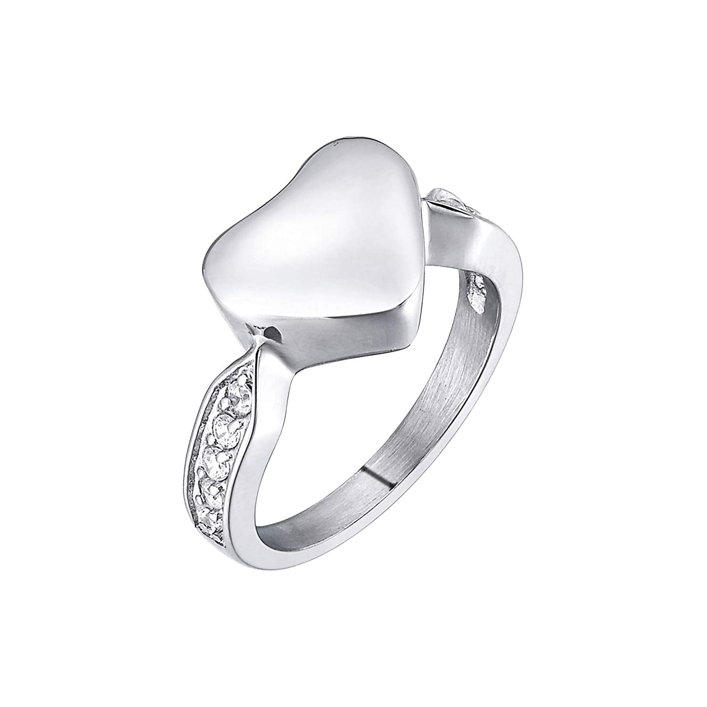 New Heart Crystal Cremation Ash Urn Memorial Keepsake Ring