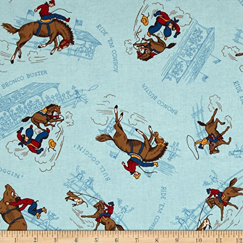 Blue Rodeo Fabric - Ride 'Em Cowboy 2 Rodeo Blue Fabric