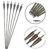 SHARROW 12pcs Flechas de Carbono 30 Pulgadas Spine 350 con Plumas de Pavo para Arco Compuesto Recurvo Flechas de Caza