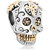 Christmas Gifts European Charms Skull Cross Silver Plated Dia De Los Muertos Beads