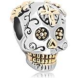 Uniqueen Halloween Gift Skull Charm Beads fits chamilia & troll Bracelets